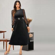 Polka Dot Mesh Sleeve Belted Velvet Dress