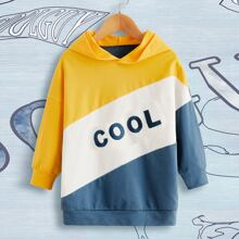Toddler Boys Color-block Letter Embroidery Hoodie