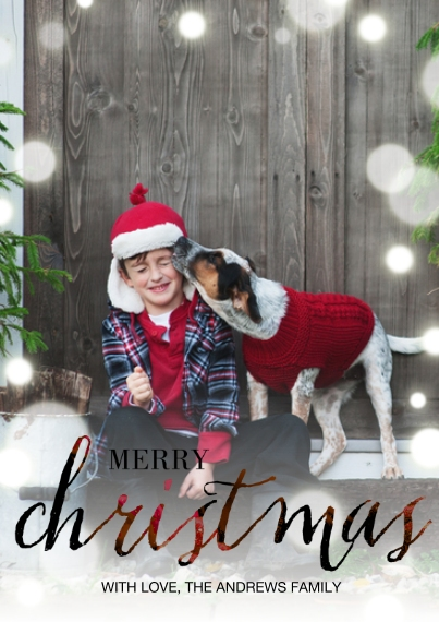 Christmas Photo Cards 5x7 Cards, Premium Cardstock 120lb with Elegant Corners, Card & Stationery -Ruby Script Christmas