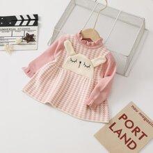 Toddler Girl Cartoon Pattern Ruffle Neck Sweater Dress