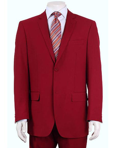 Men's Vitali Single Breasted Authentic 2 Button Red Slim Fit Suit