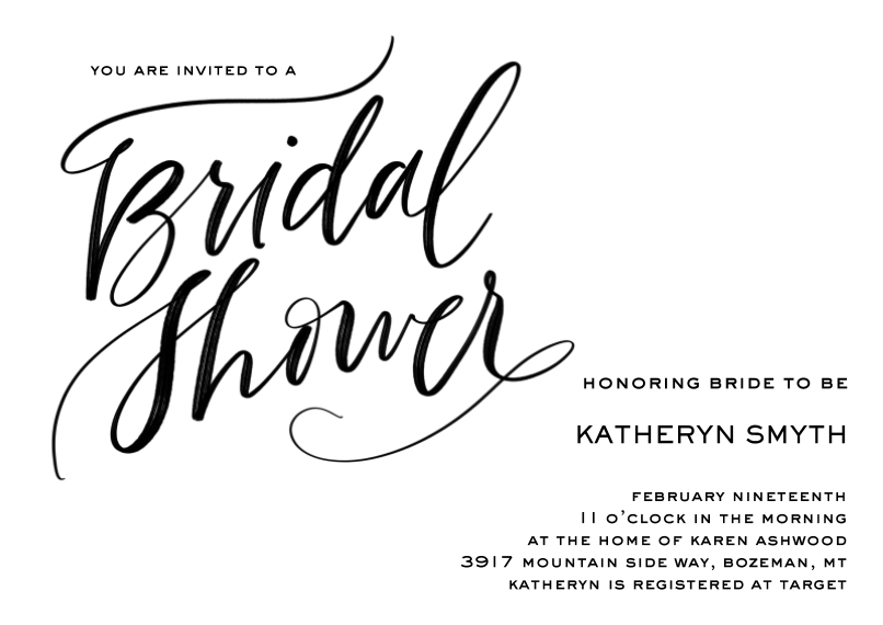 Wedding Shower Invites 5x7 Cards, Premium Cardstock 120lb with Elegant Corners, Card & Stationery -Scripted