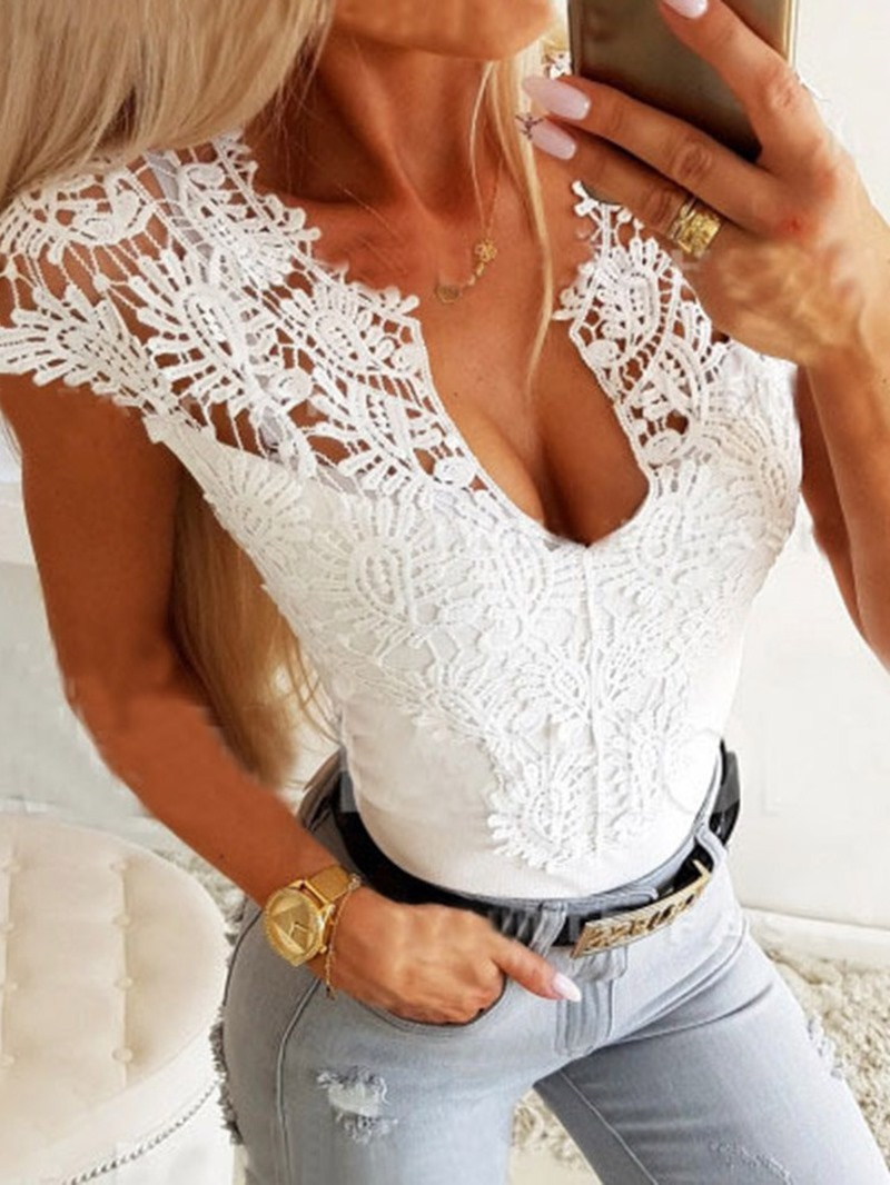 Ericdress Lace Plain Round Neck Short Sleeve Mid-Length Blouse