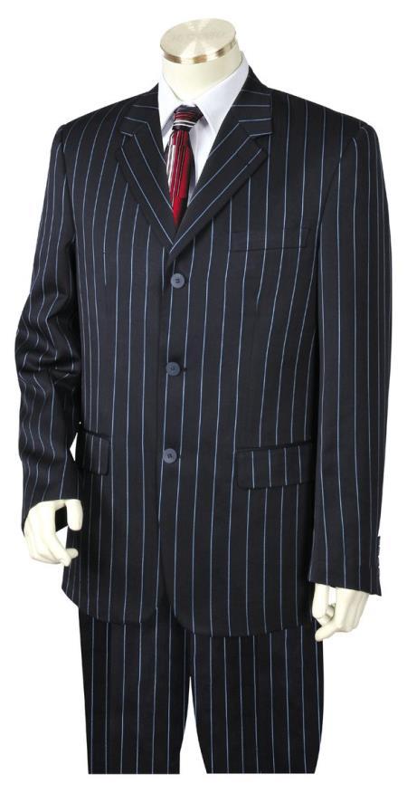 Mens Reflective Razor Stripe Notch Lapel Navy Blue Zoot Suit