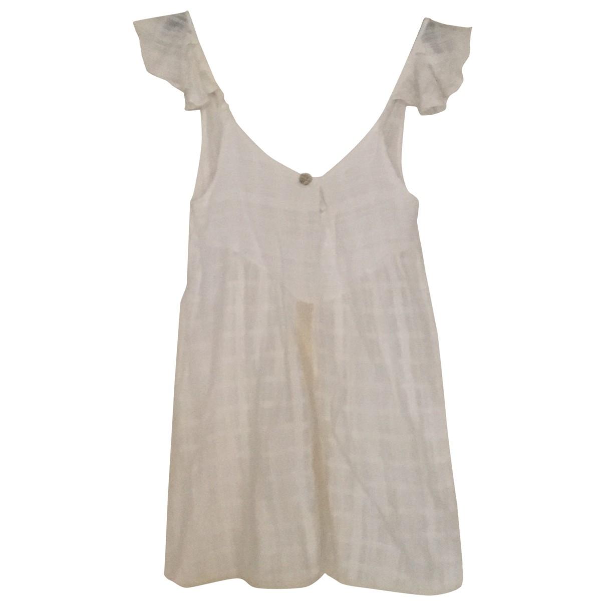 Non Signé / Unsigned \N White Linen dress for Women 34 FR
