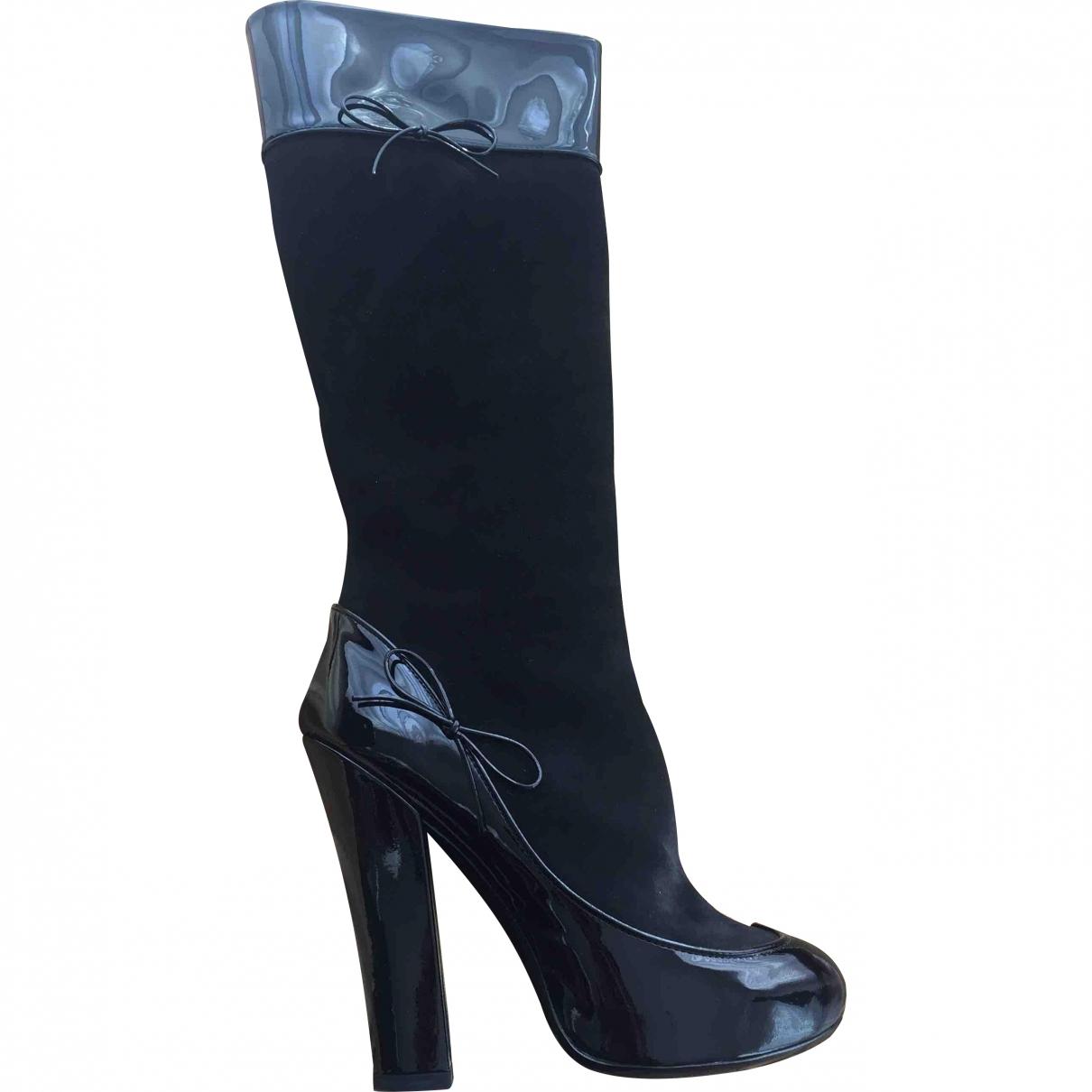 Louis Vuitton - Bottes   pour femme en cuir verni - noir