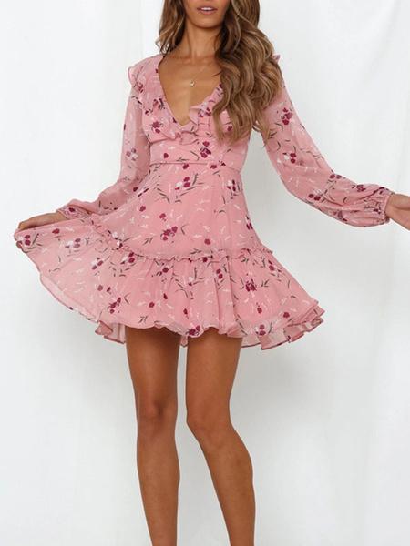 Milanoo Mini vestidos florales Vestido corto de gasa de manga larga rosa
