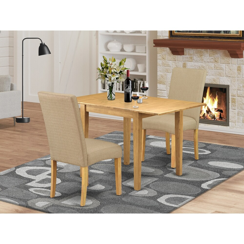 Rectangle Dining Table and Chairs for Dining Room with Dark Khaki Color Linen Fabric Seat (Number of Chairs Option) (2-Piece Sets)