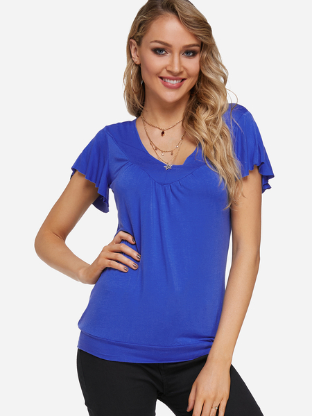 Yoins Blue Pleated Design V-neck Ruffle Sleeves Blouse
