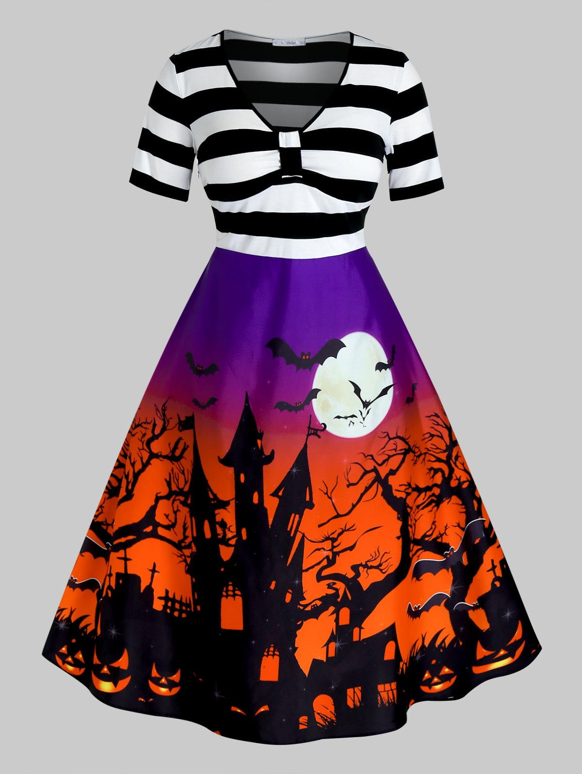 Plus Size Halloween Printed Vintage Pin Up Dress