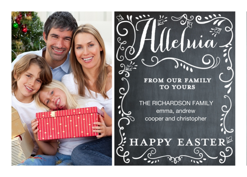 Easter Cards 5x7 Folded Cards, Premium Cardstock 120lb, Card & Stationery -Easter Alleluia Swirls