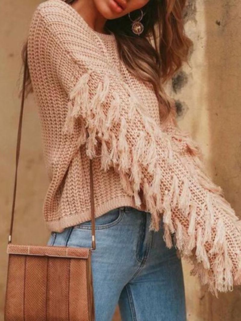 Ericdress Regular Long Sleeve Round Neck Sweater
