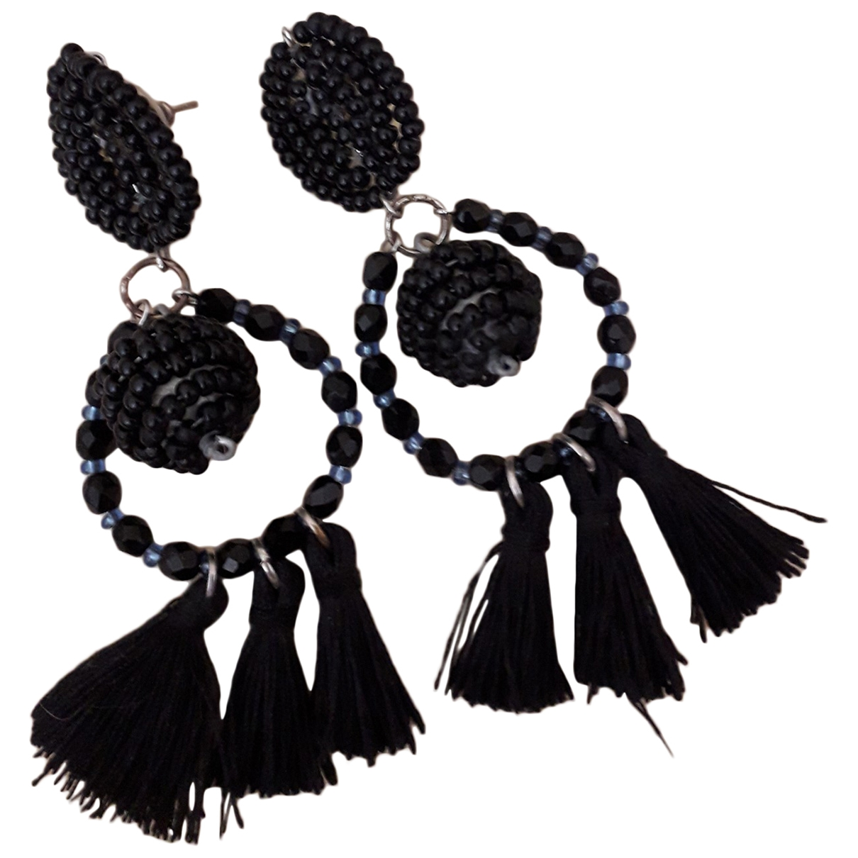 Non Signé / Unsigned Motifs Ethniques Black Glass Earrings for Women \N