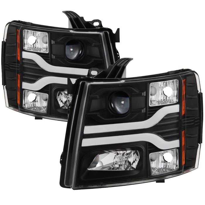 Spyder Auto PRO-YD-CS07V3-LBDRL-BK Version 3 Projector Headlights LED DRL Black Chevy Silverado 1500 | 2500HD | 3500HD 07-14
