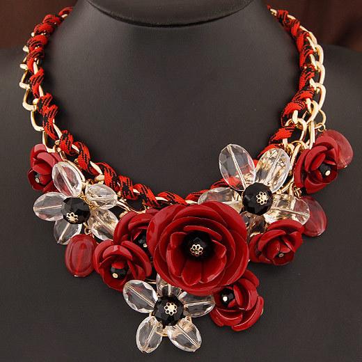 Women's Vogue Colorful Floral Chain Necklace