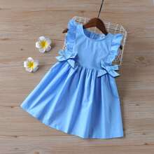 Toddler Girls Ruffle Bow Front A-line Dress