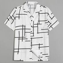 Guys Geo Print Button Up Shirt