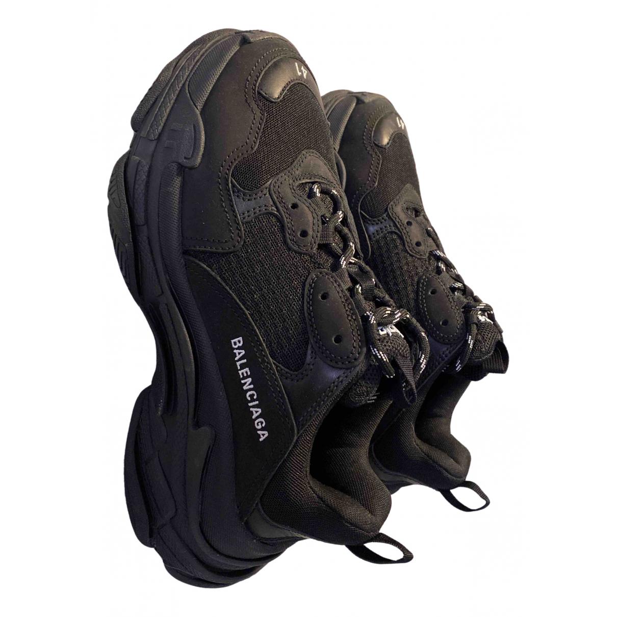 Balenciaga Triple S Sneakers in  Schwarz Leinen