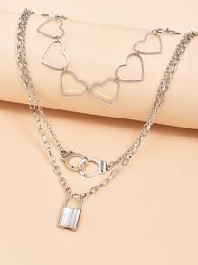 Lock Charm Layered Necklace