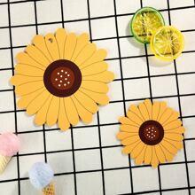 2pcs Sunflower Shaped Coaster