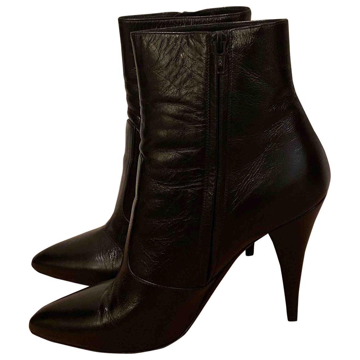 Saint Laurent \N Black Patent leather Ankle boots for Women 41 EU
