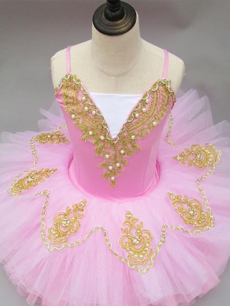 Milanoo Disfraz Halloween Vestido de ballet rosa Tutu encaje bordado con cuentas Bailarina Vestidos Carnaval Halloween