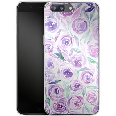 OnePlus 5 Silikon Handyhuelle - Purple Rose Floral von Becky Starsmore