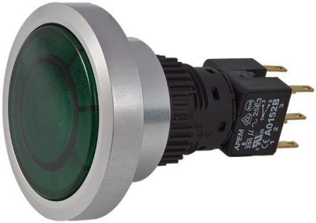 APEM Double Pole Double Throw (DPDT) Momentary Green LED Push Button Switch, IP65, Panel Mount