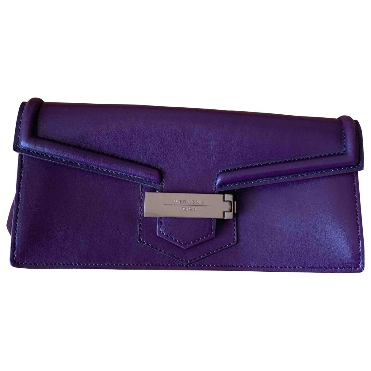 Max Mara Weekend - Pochette   pour femme en cuir - violet