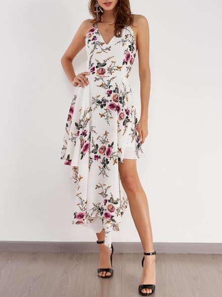 Yoins Sexy Random Floral Print Irregular Hem Backless Dress