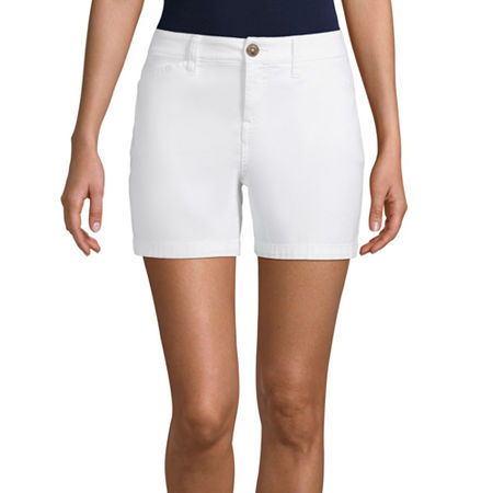 St. John's Bay Womens Mid Rise Chino Short, 20 , White