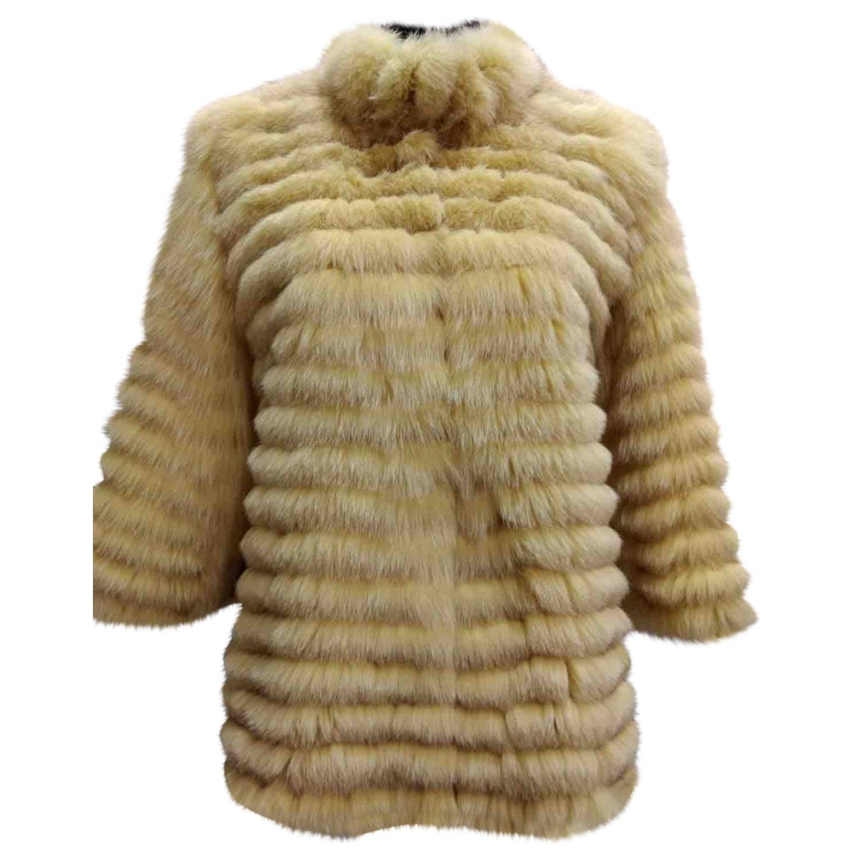 - Manteau   pour femme en renard - jaune