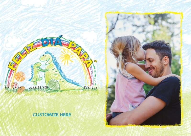 Father's Day 5x7 Folded Cards, Premium Cardstock 120lb, Card & Stationery -Spanish - Dinosaur Drawing