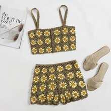 Strick Top & Shorts Set mit Knopfen vorn