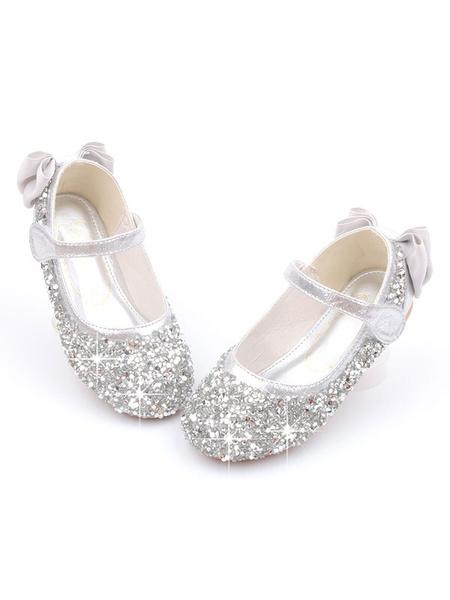 Milanoo Zapatos de fiesta para mujer Zapatos de niña de flores con lazo de punta redonda con lentejuelas rosas