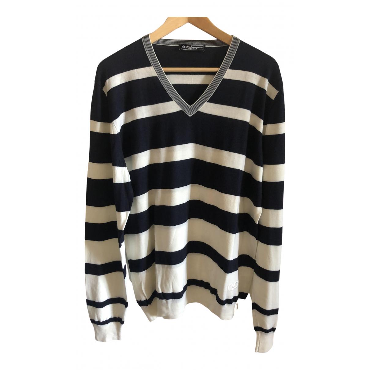 Salvatore Ferragamo \N Pullover.Westen.Sweatshirts  in  Marine Wolle