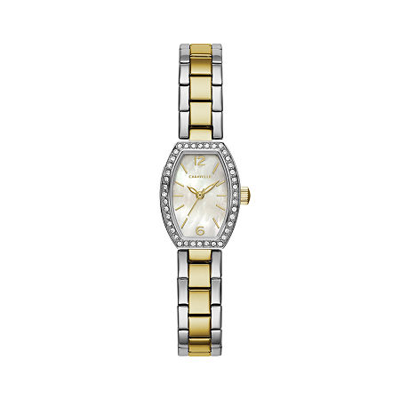 Caravelle Designed By Bulova Womens Crystal Accent Two Tone Stainless Steel Bracelet Watch - 45l168, One Size , No Color Family