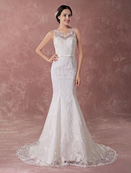 Milanoo Vestidos de novia de la sirena Vestido de novia sin mangas del marco de lazo de marfil del cordon con el tren