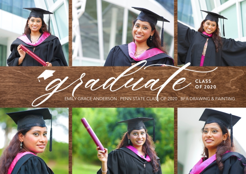 Graduation Announcements 5x7 Cards, Premium Cardstock 120lb with Rounded Corners, Card & Stationery -Class of 2020 Script by Tumbalina