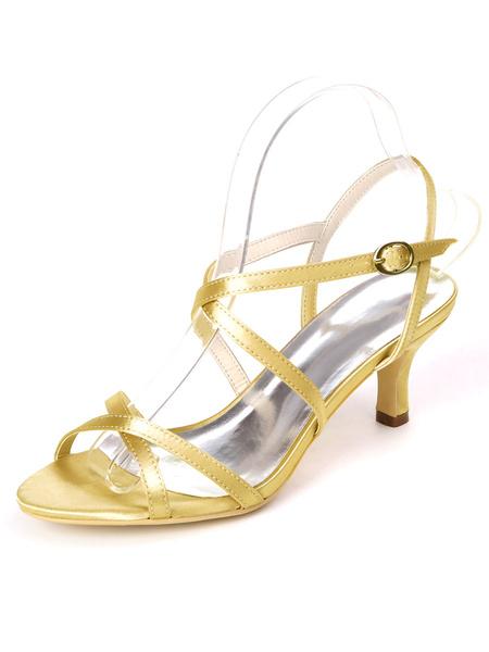 Milanoo Silver Wedding Shoes Satin Open Toe Criss Cross Kitten Heel Bridal Shoes Bridesmaid Shoes