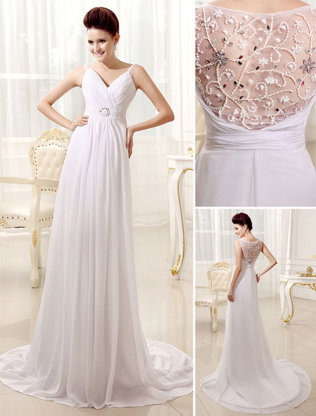 Milanoo A-line V-Neck Spaghetti Strap Pleated White Wedding Dress For Bride