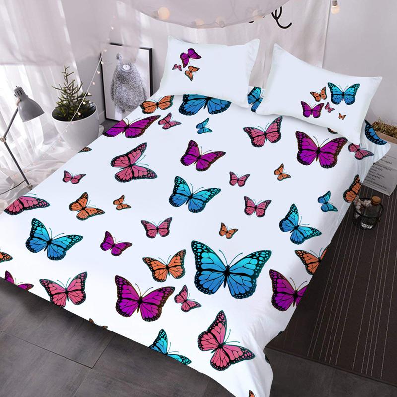 Butterflies Microfiber No-Fading Comforter Set 3Pcs 3D Soft Lightweight Comforter with 2 Pillowcases