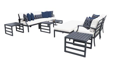 Lexington LEXINGTON-10c-WHITE 10-Piece Aluminum Patio Set 10a with 1 Left Arm Chair  1 Right Arm Chair  1 Armless Chair  2 Club Chairs  1 Coffee