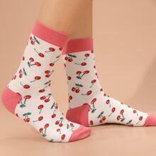 Calcetines con patron de cereza