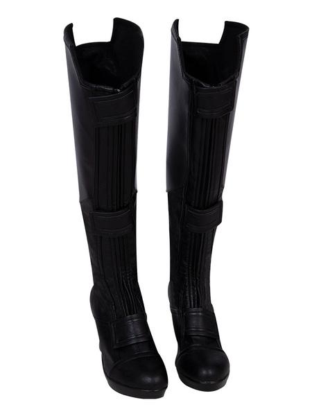 Milanoo Black Widow Cospplay Natasha PU Boots Cosplay Boots