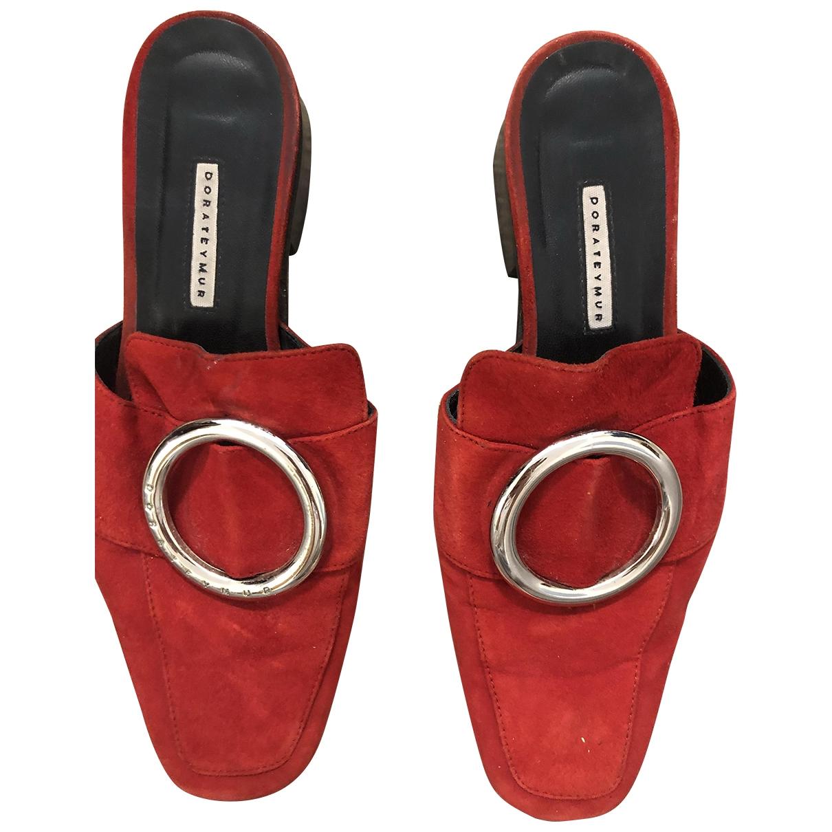 Dorateymur - Sabots   pour femme en cuir - rouge