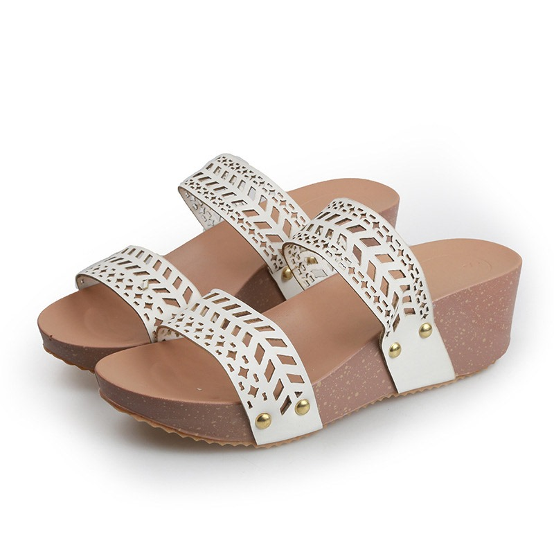 Ericdress Rhinestone Wedge Heel Slip-On Casual Slippers