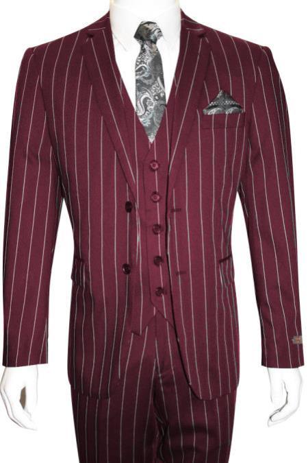 Men's Bold Gangster 1920s Vintage Burgundy ~ White Vested Suit