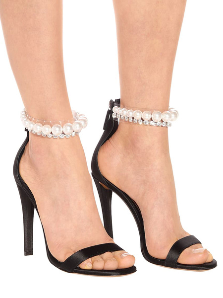 Milanoo High Heel Sandals Apricot Open Toe Pearls Ankle Strap Party Shoes
