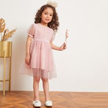 Toddler Girls Mesh Overlay Puff Sleeve Tutu Dress